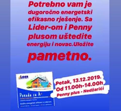 MKF LIDER u Penny plusu, Nedžarići 13.12.2019. od 11 do 14 h
