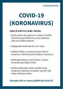 Važno!!!! Zaštitite sebe i svoje najbliže. Pridržavajte se samo nekoliko ključnih mjera prevencije od Corona virusa.