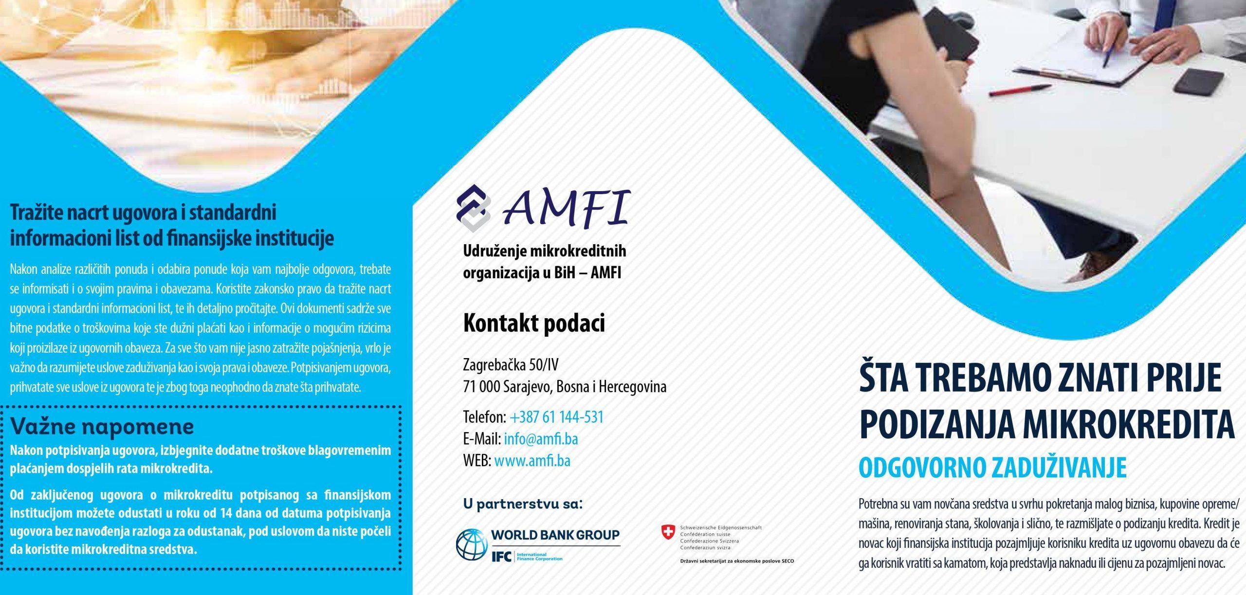 AMFI (Udruženje mikrokreditnih organizacija u BiH) brošura o odgovornom zaduživanju